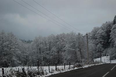 Peisaj de iarna la munte, cu zapada