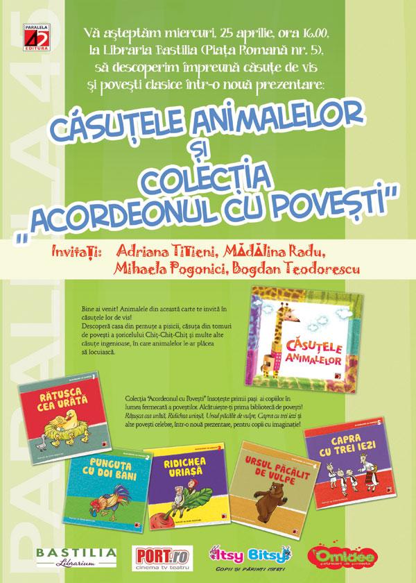 Casutele animalelor si colectia Acordeonul cu povesti: lansare de carte pentru copii