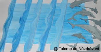 Colaj 3D, delfini la joaca
