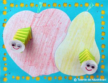 Fructe cu virmisori din acordeon de hartie