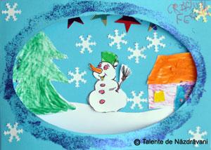 Felicitare de iarna confectionata din hartie, cu om de zapada