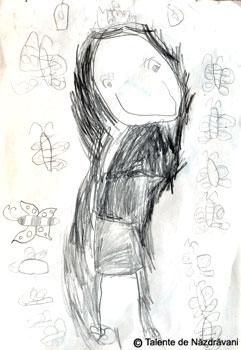 Iris, autoportret in creion