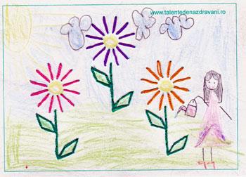 Crizanteme de toamna, cusute cu acul
