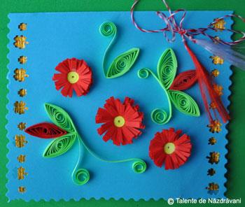 Martisoare cu flori prin quilling