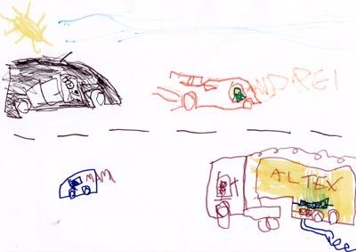 Familia mea in trafic, desen cu carioca
