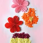 Flori de toamnă - îndoitură evantai și hârtie tocată