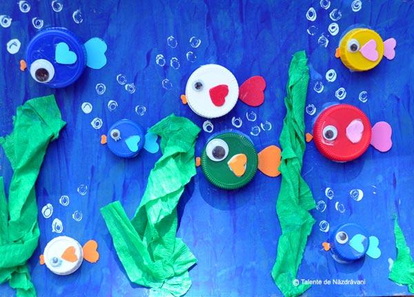 acvariu din capace reciclate