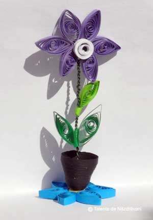 Floare in ghiveci-quilling-3d