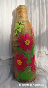 Sticla decorata cu sfoara de canepa