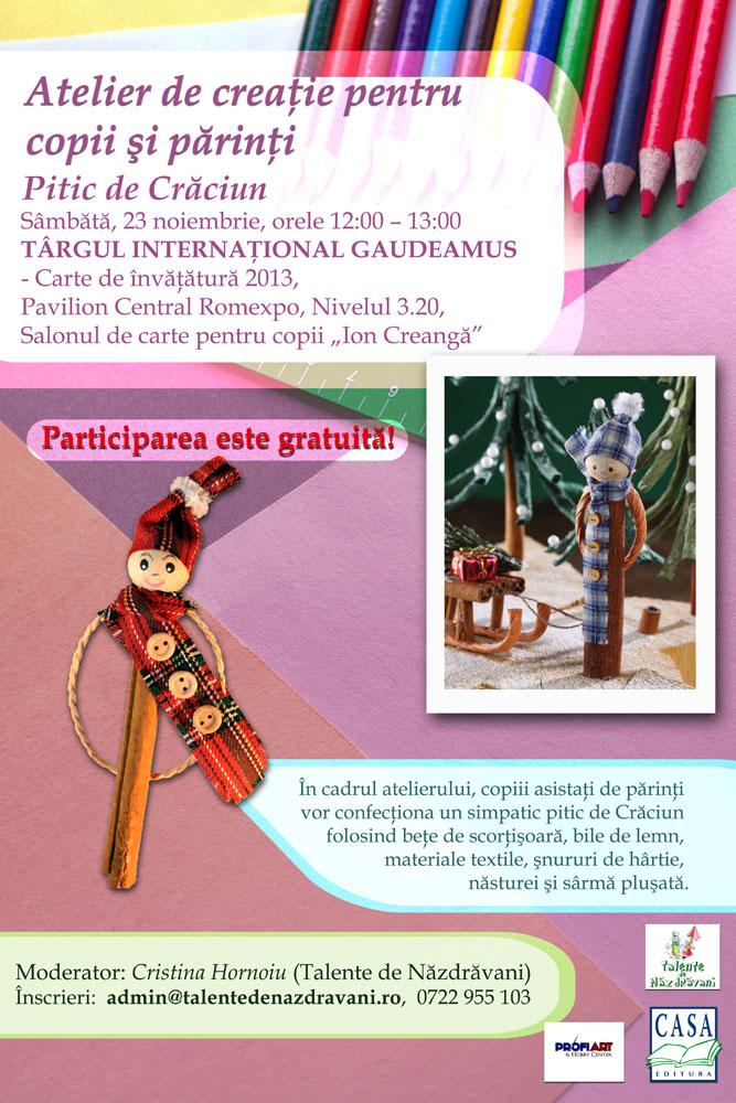 Atelier pentru copii gratuit la Targul de Carte, alaturi de Editura Casa