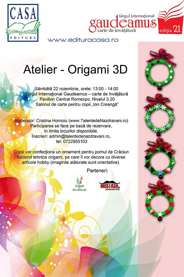 Origami 3D - atelier la Gaudeamus - 22 noiembrie 2014