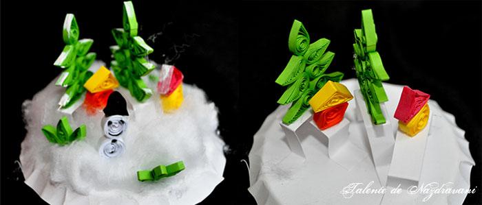 Decoratiune de iarna din pahar de plastic