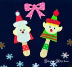 Moș Crăciun și Spiridușul lui - figurine din bețe de înghețată (*26)