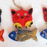 Pisici din lemn - pictură pe obiecte