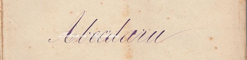 Titlu de abecedar din 1878, realizat manual de învățător. Imagine document. Preluarea interzisă.