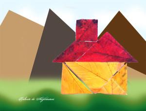 Colaj din frunze de toamnă - piese tangram