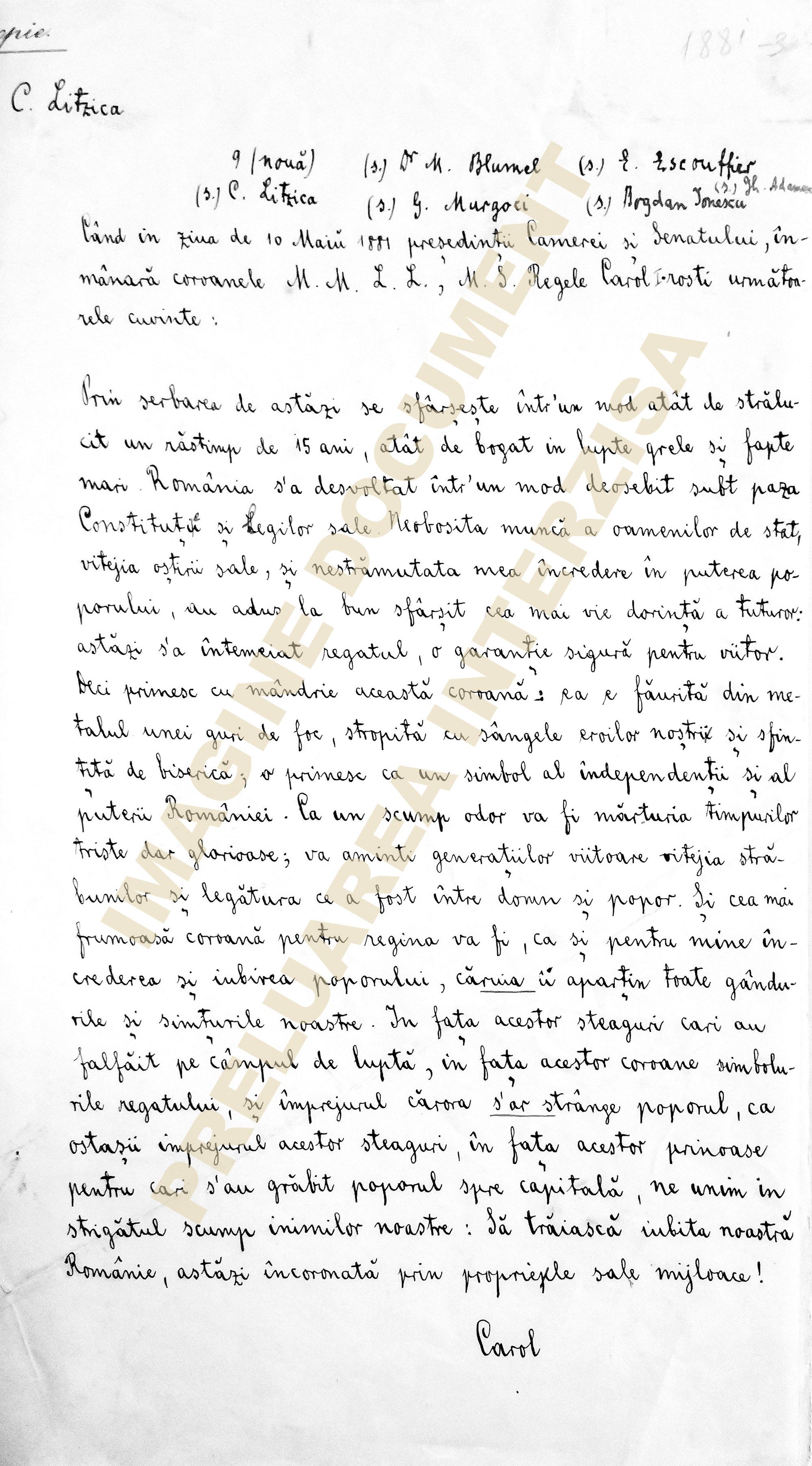 Discurs Carol I - 10 mai 1881, Proclamarea Regatului