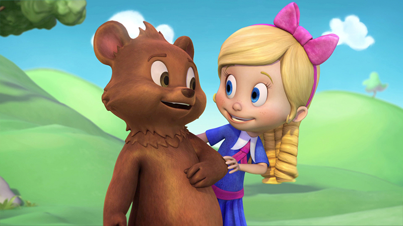 "GOLDIE & BEAR - ""Goldie & Bear,"" a fairy tale-inspired adventure series for preschoolers premiering in Fall 2015, follows the fairytale adventures of newfound friends Goldie and Bear, following the renowned porridge incident of ""Goldilocks and The Three Bears."" (Disney Junior) BEAR, GOLDIE"