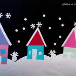 Abilitățile practice și matematica: peisaj de iarnă cu căsuțe