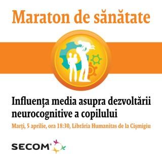 """Maratonul de Sănătate Secom® a ajuns la mijlocul cursei. Am discutat despre infecțiile Te invităm să discutăm despre impactul pe care-l are mass-media, internetul și diversele gadgeturi-uri asupra sistemului neurocognitiv al copilului, în cadrul evenimentului: """"Influența media asupra dezvoltării neurocognitive a copilului"""", susținut de Dr. Raluca Teleanu, medic primar neurologie pediatrică, șef secție Neurologie Pediatrică """"Spitalul Victor Gomoiu"""". Evenimentul se va desfășura marți, 5 aprilie, de la ora 18:30, Librăria Humanitas de la Cișmigiu."""