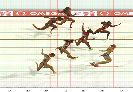 LONDON, ENGLAND - AUGUST 07: In this handout photo finish image supplied by Omega, Sally Pearson of Australia wins the Women's 100m Hurdles Final on Day 11 of the London 2012 Olympic Games at Olympic Stadium on August 7, 2012 in London, England. (Photo by Omega via Getty Images)