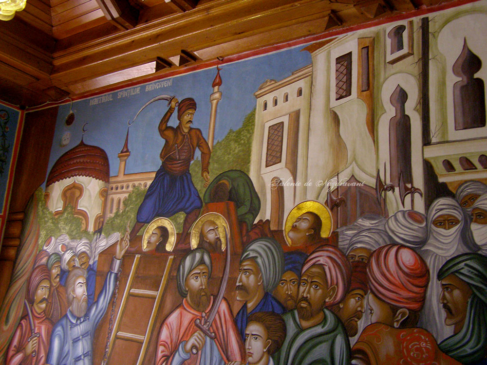 15 august 1714 - martiriul sfinților Brâncoveni - frescă în biserica nouă de la Sâmbăta de Sus
