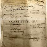 Constituția din 1923. Semnăturile membrilor guvernului. Sus, în stânga - Ion I.C. Brătianu. Document aflat în colecția MNIR.