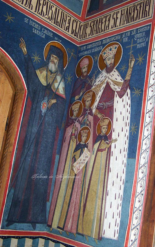 Constantin Brancoveanu și fii săi - frescă la Tismana