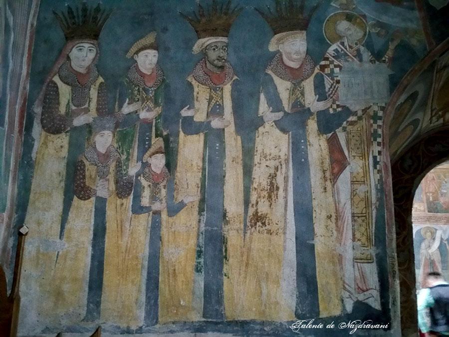 Petru Rareș - tabloul votiv de la mănăstirea Probota. Iliaş, moştenitorul tronului are fața înnegrită, căci s-a convertit la islamism.
