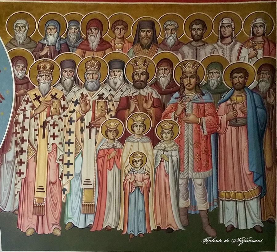 Sfinții români - fresca nouă de la mănăstirea Putna. Biserica a fost repictată după 300 de ani de la distrugere, din pictura originală nefiind păstrate decât mici fragmente. În pronaos, pe peretele din dreapta ușii, central - sfinții Brâncoveni, și alături, Ștefan cel Mare.