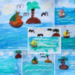 Pictură: peisaj marin, cu bărcuță din ipsos