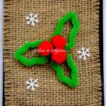 Felicitare de Crăciun cu vâsc, din sârmă plușată