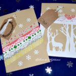Pungi de cadouri din hârtie decorate cu filigran