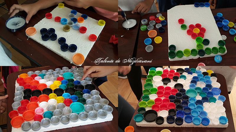 Proiecte cu materiale reciclate: mozaic cu dopuri