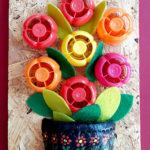 Ghiveci cu flori - capace reciclate
