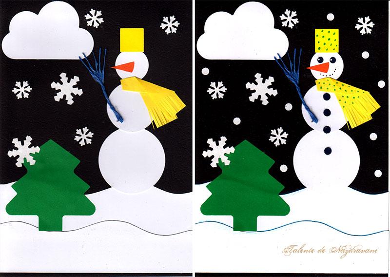 Set creativ: tablou cu om de zăpadă