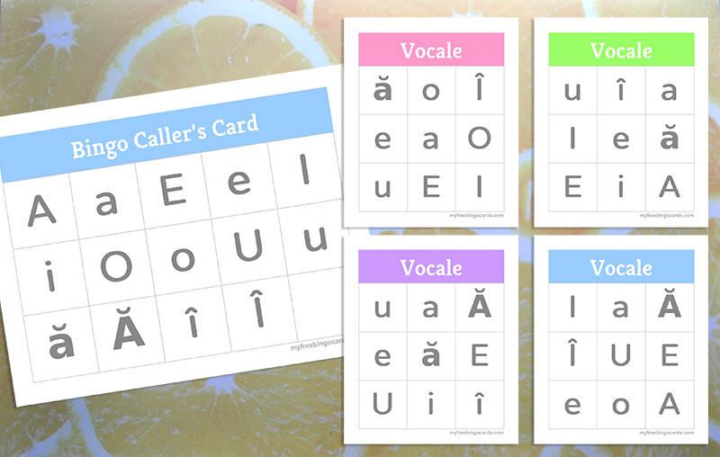 joc bingo cu vocale pentru clasa