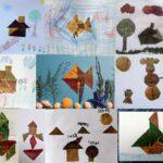 Colaj tangram cu frunze uscate