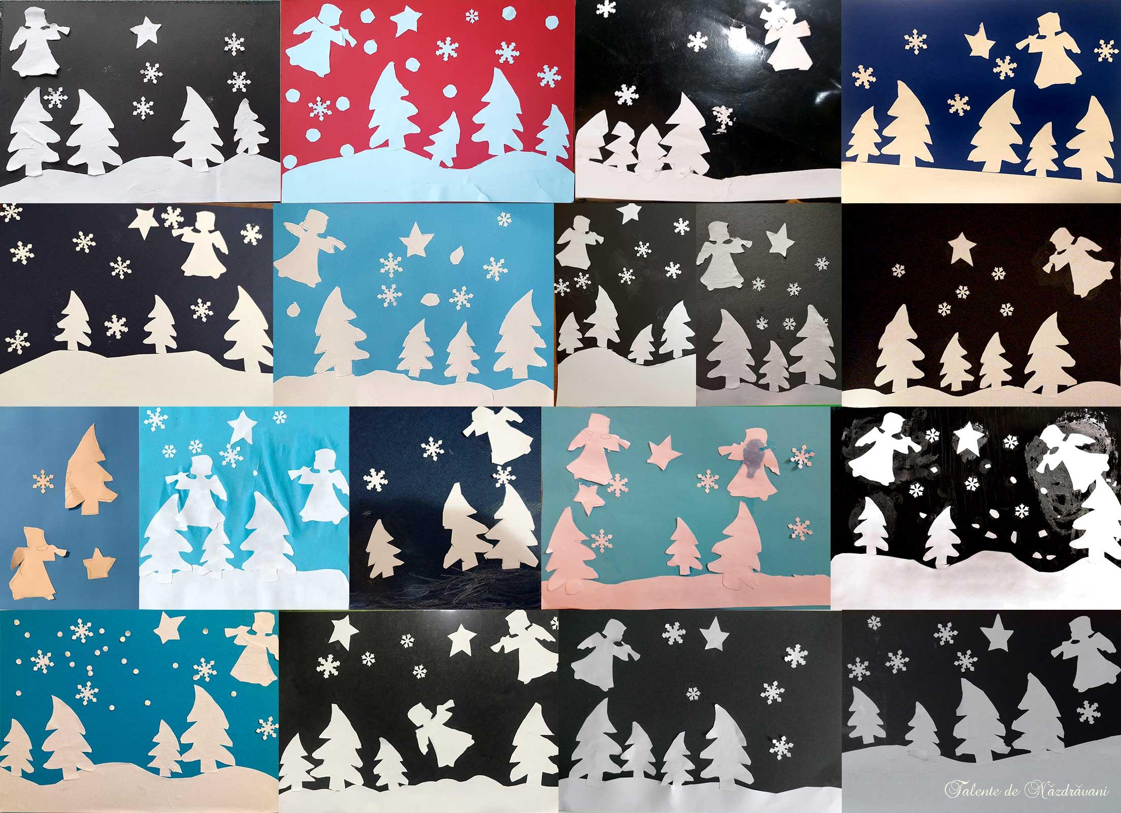 tablou de iarna ingeri cu stea