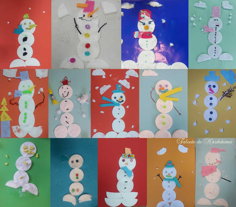 Oameni de zăpadă din discuri demachiante