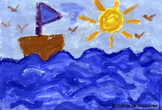 Pictura, barcuta pe valuri