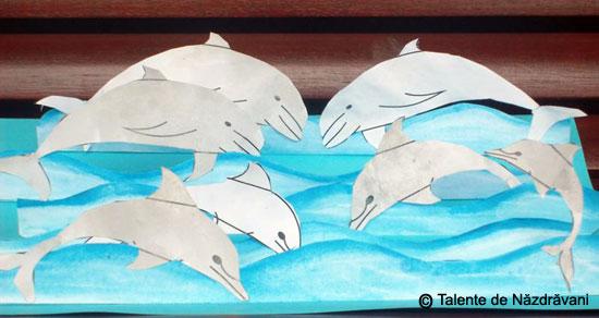 Delfini la joaca, colaj 3D