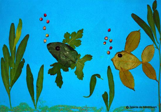 Acvariu, colaj din frunze de toamna