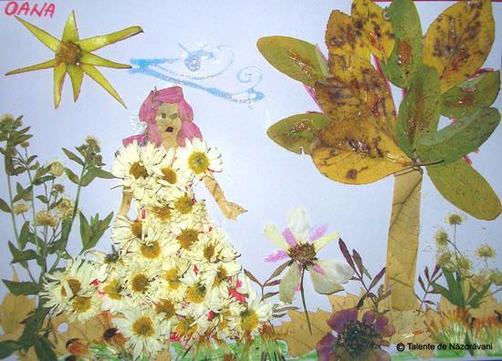 Oana Maria, colaj din frunze de toamna