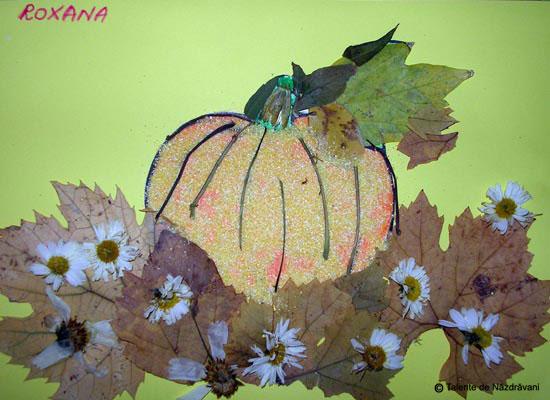 Roxana Elena, coloaj din frunze de toamna