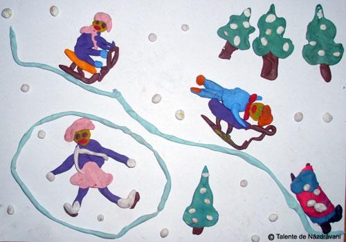 Sporturi de iarna. Peisaj din plastilina
