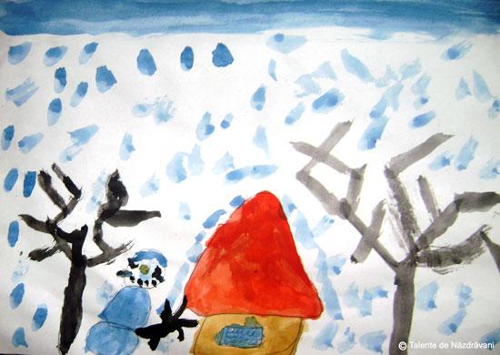 Peisaj de iarna. Sat sub zapada