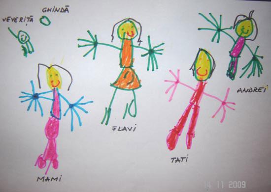 Flavia, familia mea, desen in carioca