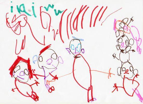 Iris, familia mea, desen in carioca