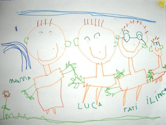 Luca, Familia mea, desen in carioca